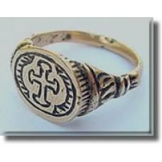 Early Bronze Ring CHRISTIAN BYZANTINE CROSS