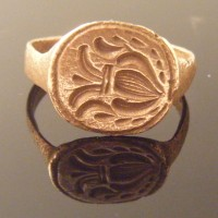 Medieval Bronze Heraldic Seal Ring