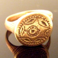 Late Roman Early Byzantine Bronze Sun Ring