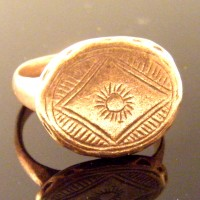 Late Roman Early Byzantine Sun Ring Bronze