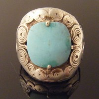 Rare Viking Silver Ring with Turquoise Colour Stone