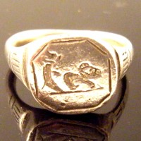 Rare Roman Silver Ring with Dog Chasing Boar Intaglio