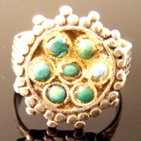 Roman Silver Ring with Turquoise Stones